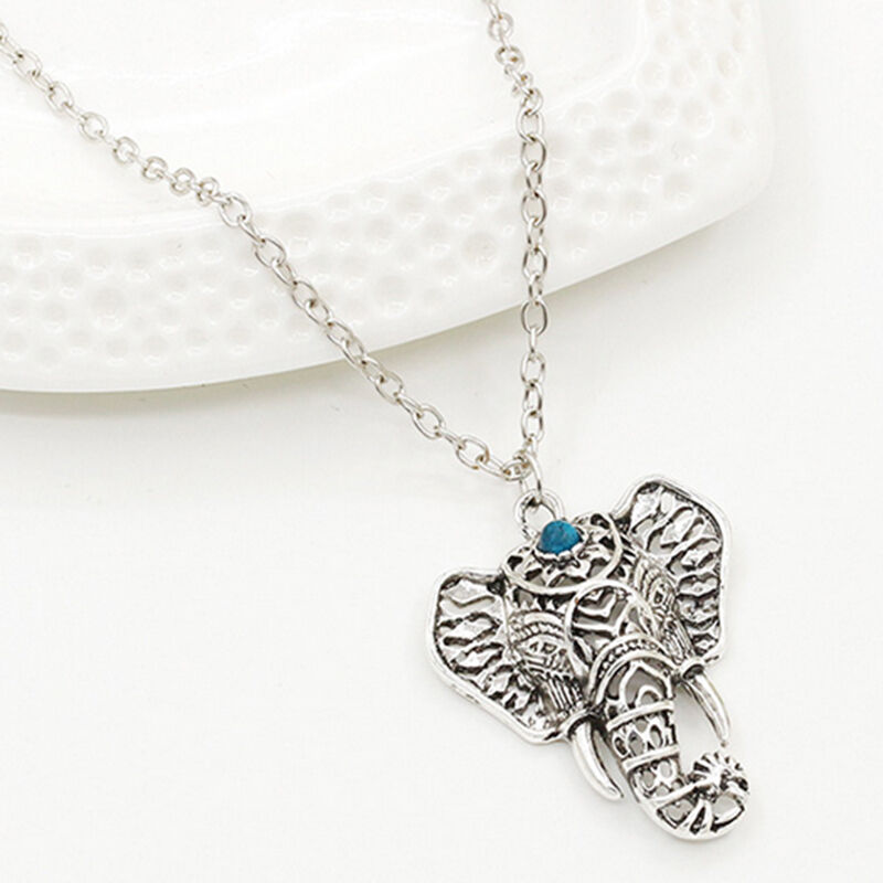 Women New Fashion Vintage Silver Elephant pendant chain ...