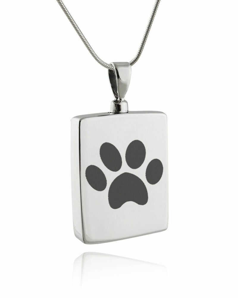 Silver Paw Cavachons: Paw Print Memorial Urn Necklace -925 Sterling Silver