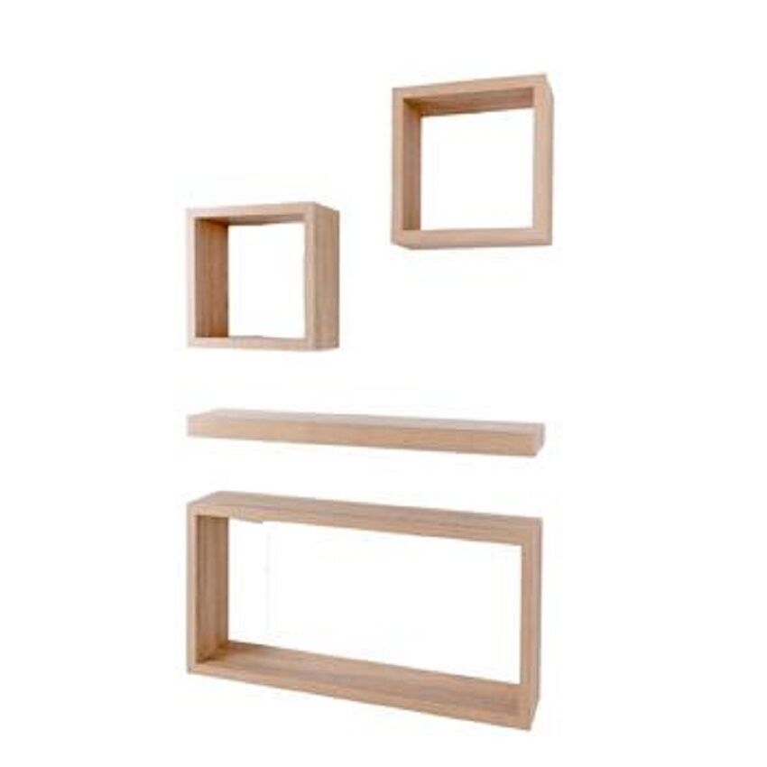 hudson 4 pcs cube wall mounted shelf kit large floating. Black Bedroom Furniture Sets. Home Design Ideas