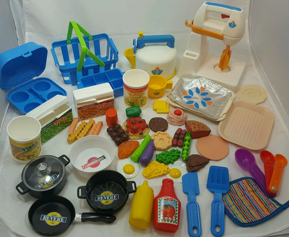Toy Food And Dishes : Vintage fisher price pretend appliances dishes food huge