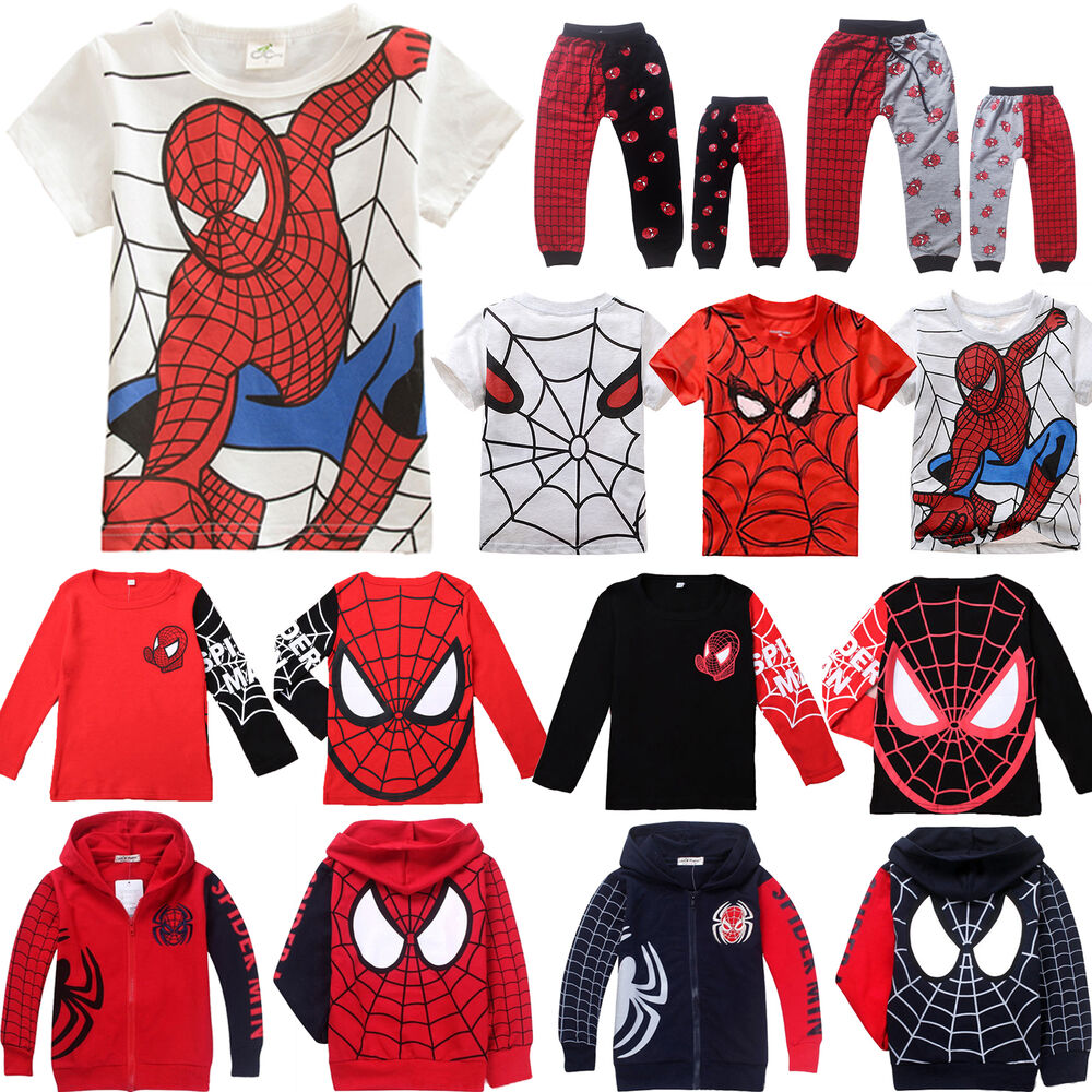 Kids baby boy superhero spiderman casual t shirt tops coat Boys superhero t shirts