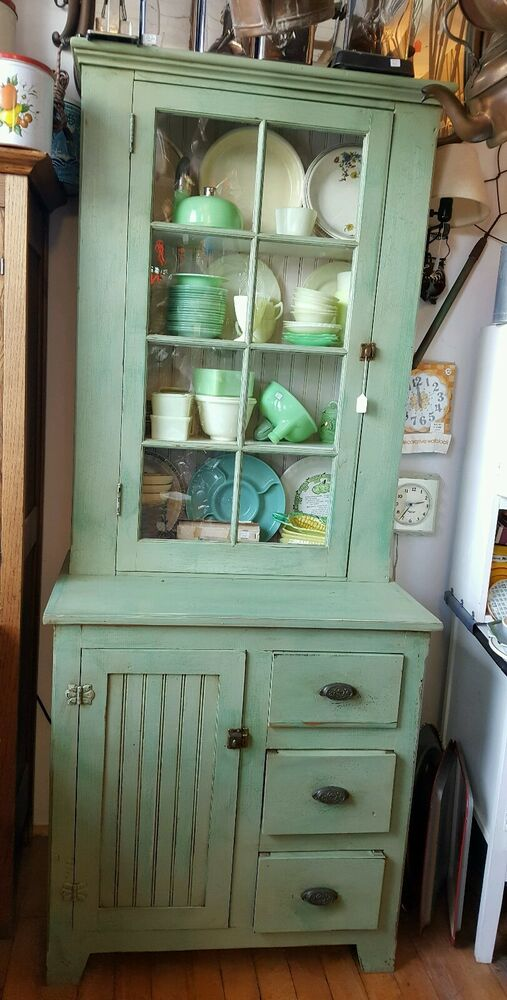 Primitive Antique Jelly Cabinet Kitchen Cupboard With