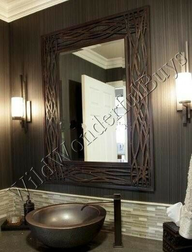 Seagrass Wall Mirror Bronze 42 Quot Bathroom Vanity Metal