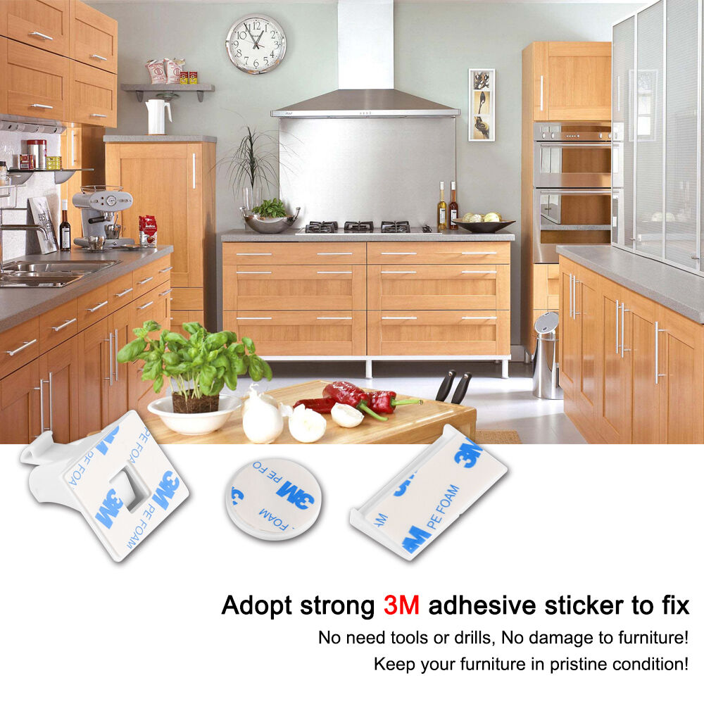 10pcs magnetic cabinet locks child proof drawers cupboards for Child safety lock for kitchen cabinets