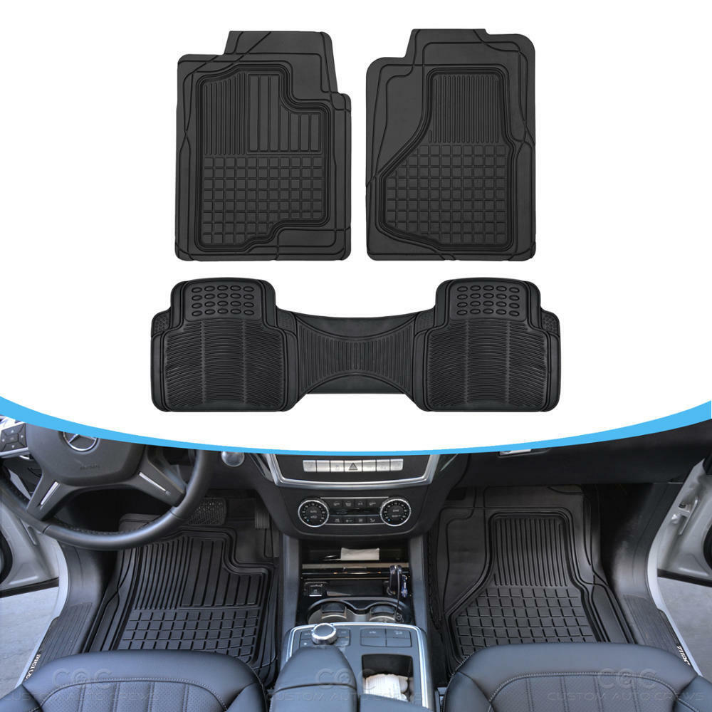 3pc Heavy Duty Rubber Floor Mats Liners For Auto Suv Van