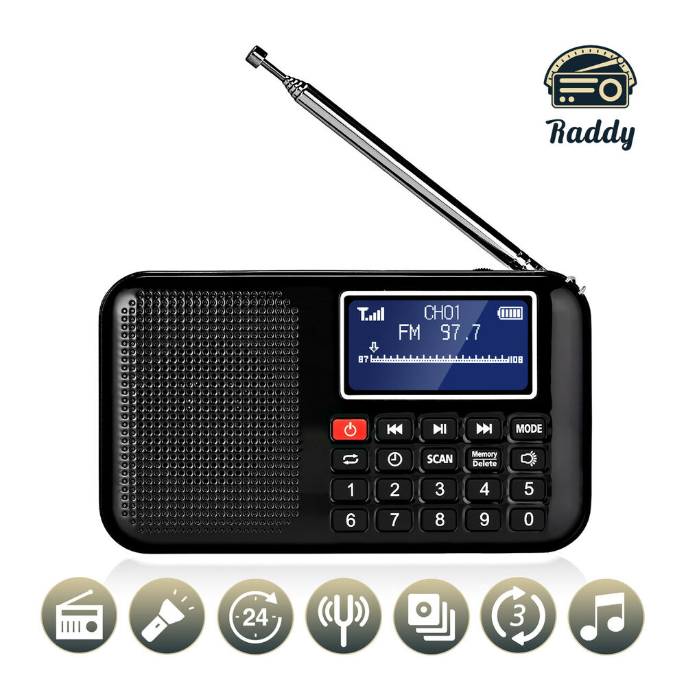 bluetooth wireless fm am usb rechargeable mini radio bass sd tf mp3 player black ebay. Black Bedroom Furniture Sets. Home Design Ideas