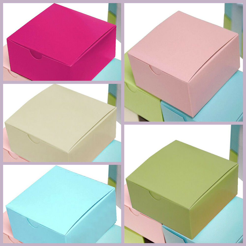 """100 4""""x4""""x2"""" Cake Wedding Party Favors Boxes With Tuck Top"""