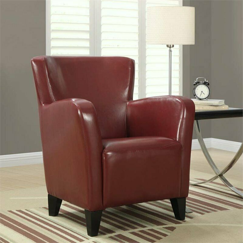 Ebay Accent Chairs: Monarch Faux Leather Accent Chair In Red