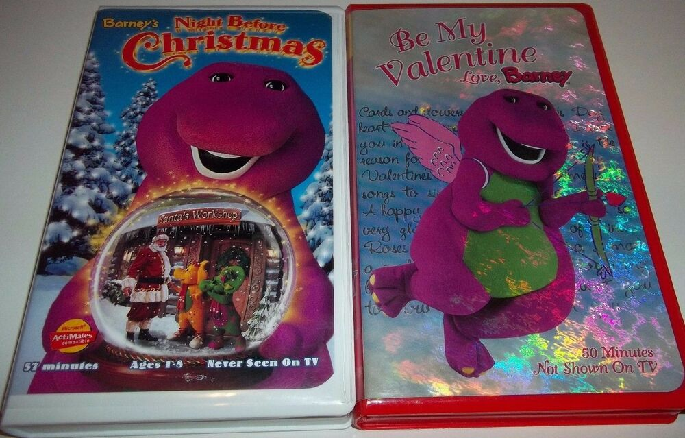 Barney\'s Night Before Christmas & Be My Valentine Lot (2) VHS Never ...