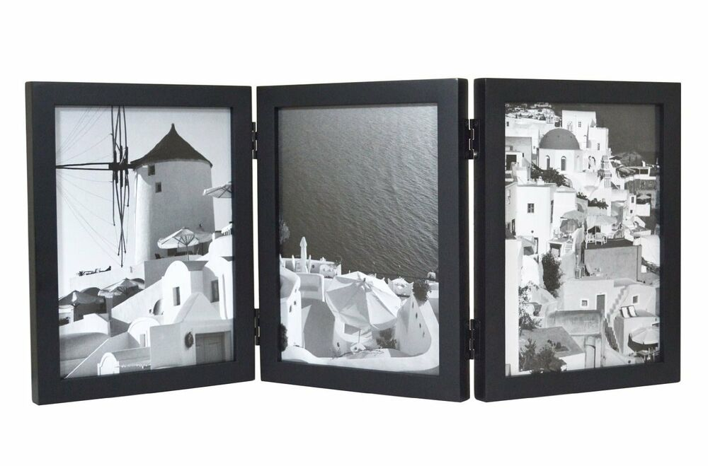 wood folding vertical photo frames for triple 5x7 photos with real glass black ebay. Black Bedroom Furniture Sets. Home Design Ideas