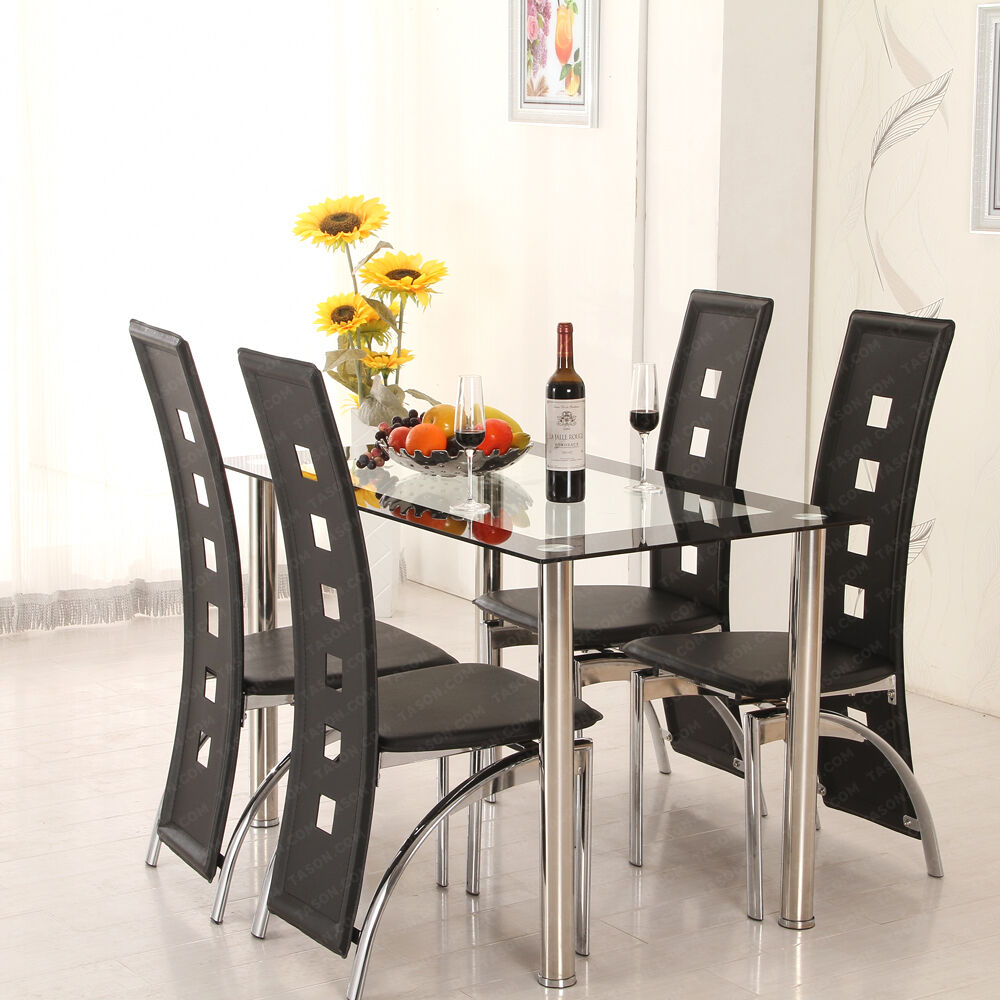 Dining Table Set With Chairs 8mm Thickened Glass Black Faux Leather Dining Room Ebay