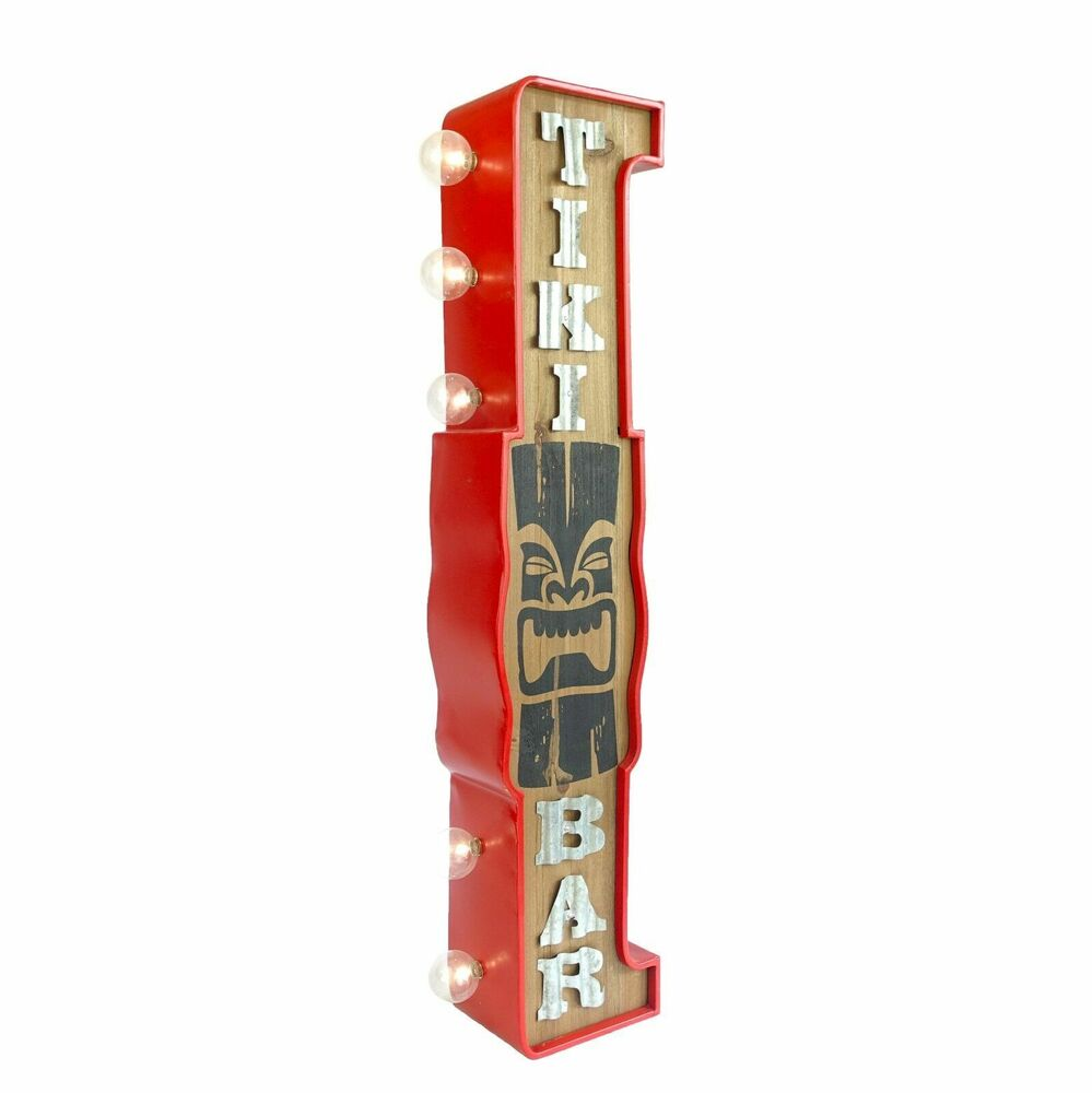 "Large 30"" Double Sided Tiki Bar Sign W/ LED Lights, Metal"