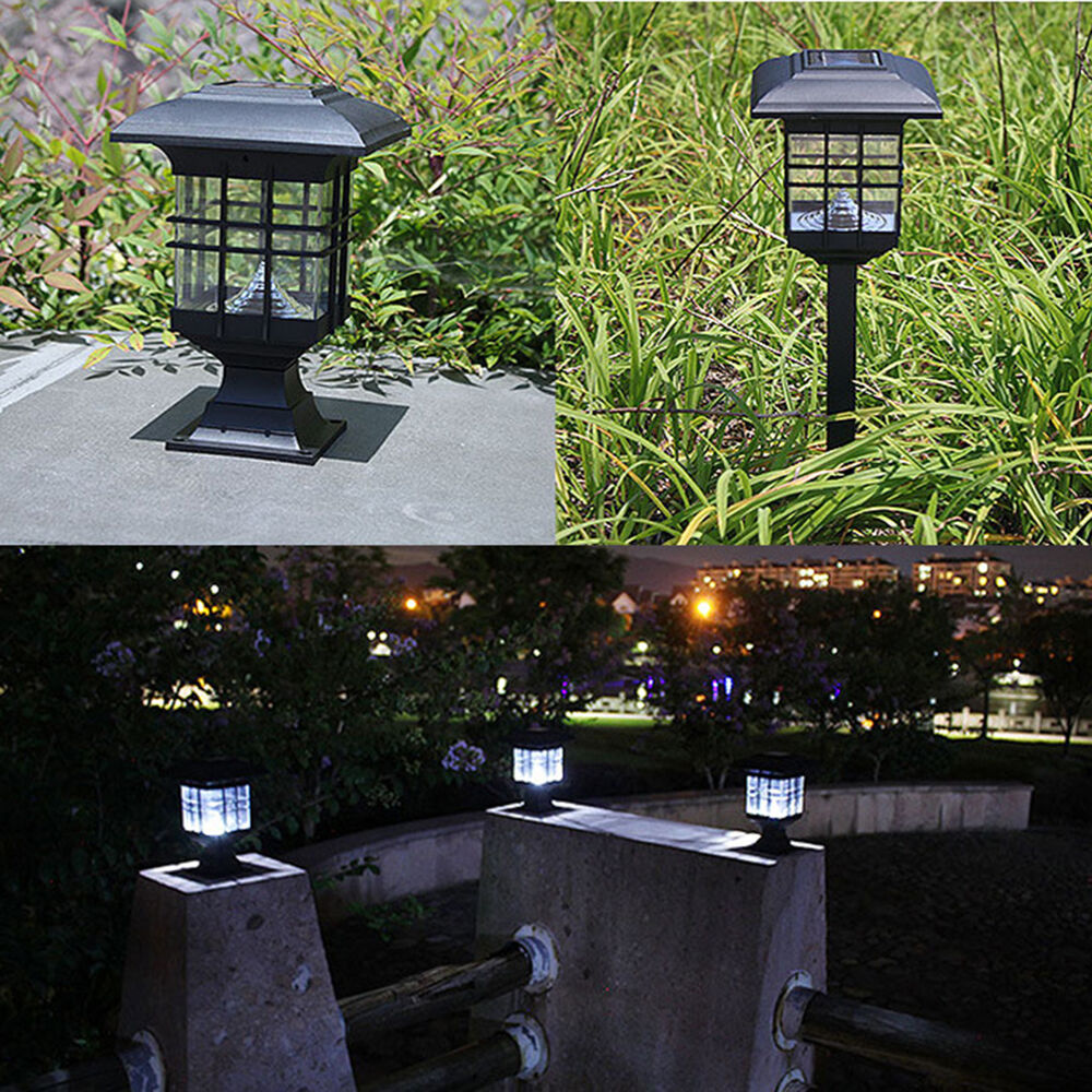 4 Foot Outdoor Solar Powered Lamp Post With: Solar Powered LED Garden Yard Bollard Pillar Light Post