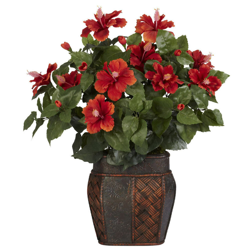 New High Quality Artificial Silk Red Hibiscus Flower Arrangement Fake 710552843610 Ebay