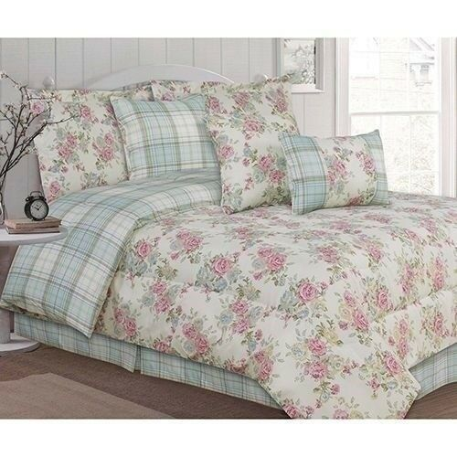 NEW Twin Full Queen King Bed Pink Blue Green Floral Plaid