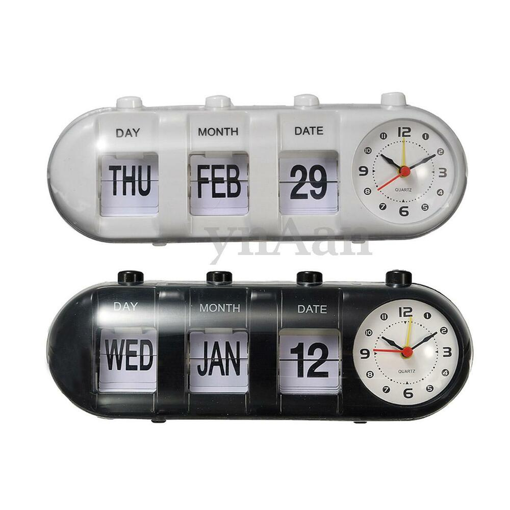 retro flip digital quartz desk alarm clock day date calendar time display ebay. Black Bedroom Furniture Sets. Home Design Ideas