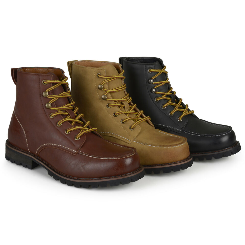 territory mens fashion high top lace up moc toe work boots
