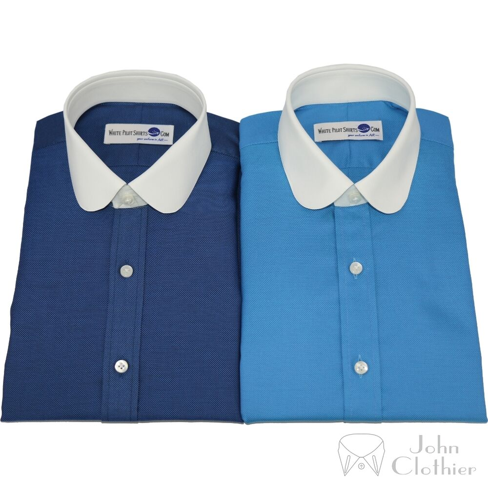 Mens penny collar banker shirt cotton dobby round white for Mens white cufflink shirts