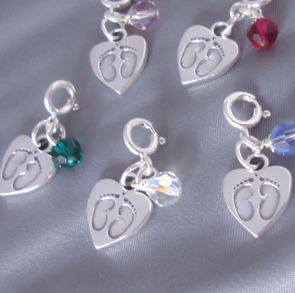 Sterling Silver Baby Foot Feet Heart Charm Birthstone