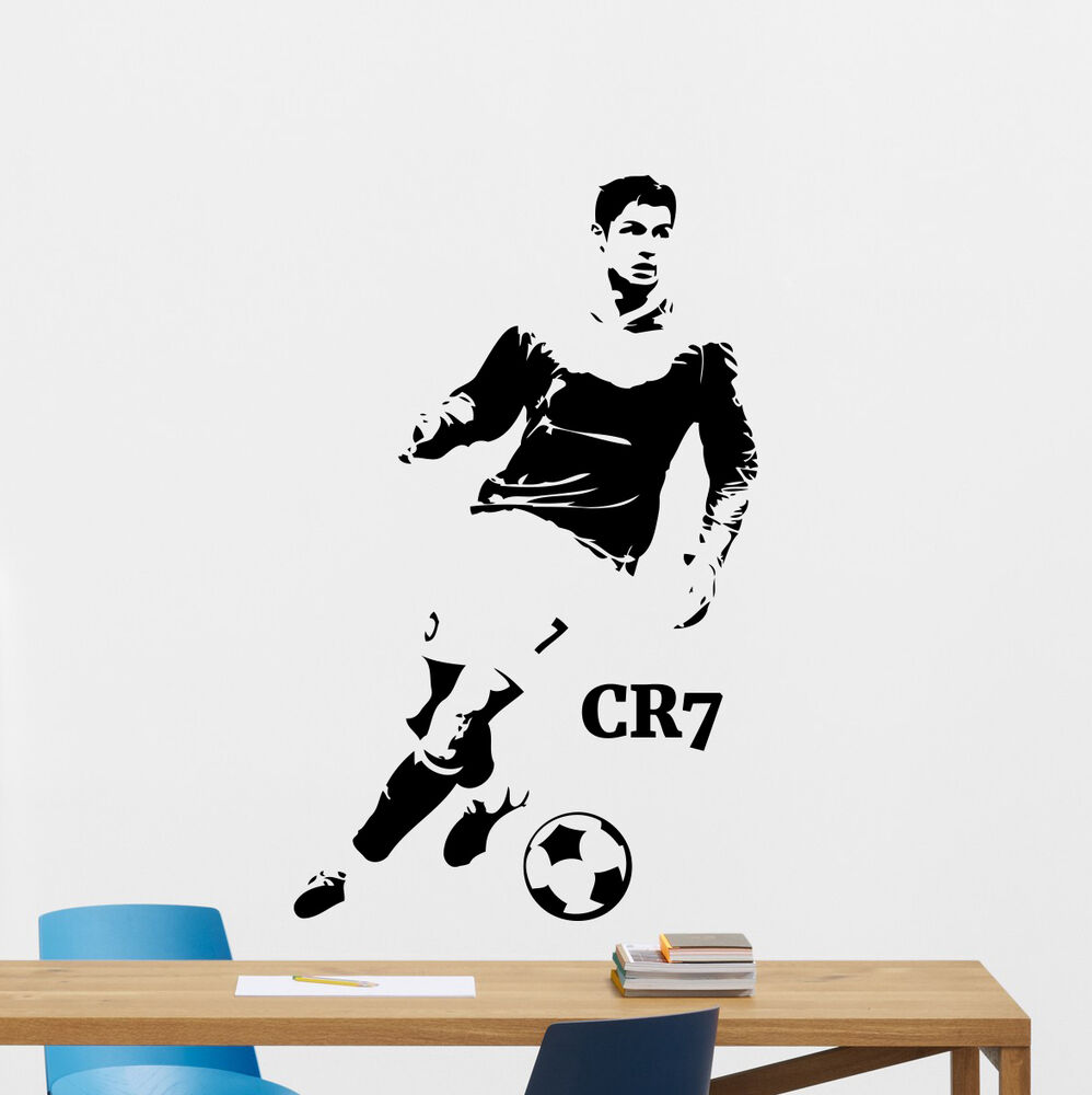 Cristiano ronaldo wall decal football vinyl sticker soccer for Cristiano ronaldo wall mural