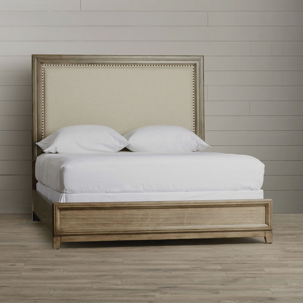 Restoration Hardware Ebay: Queen Size Upholstered Wood Bed Nailhead Restoration