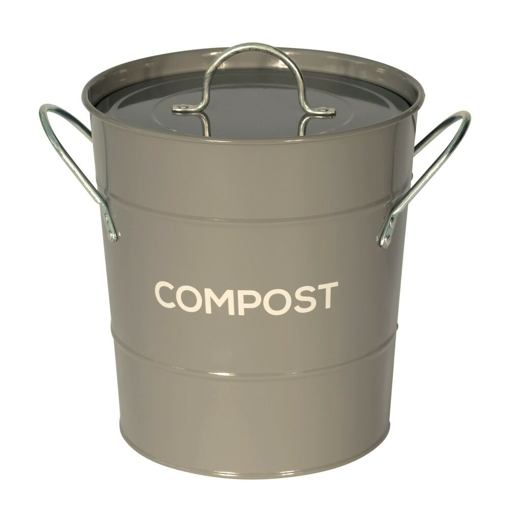 Dark Grey Compost Caddy With Inner Bucket
