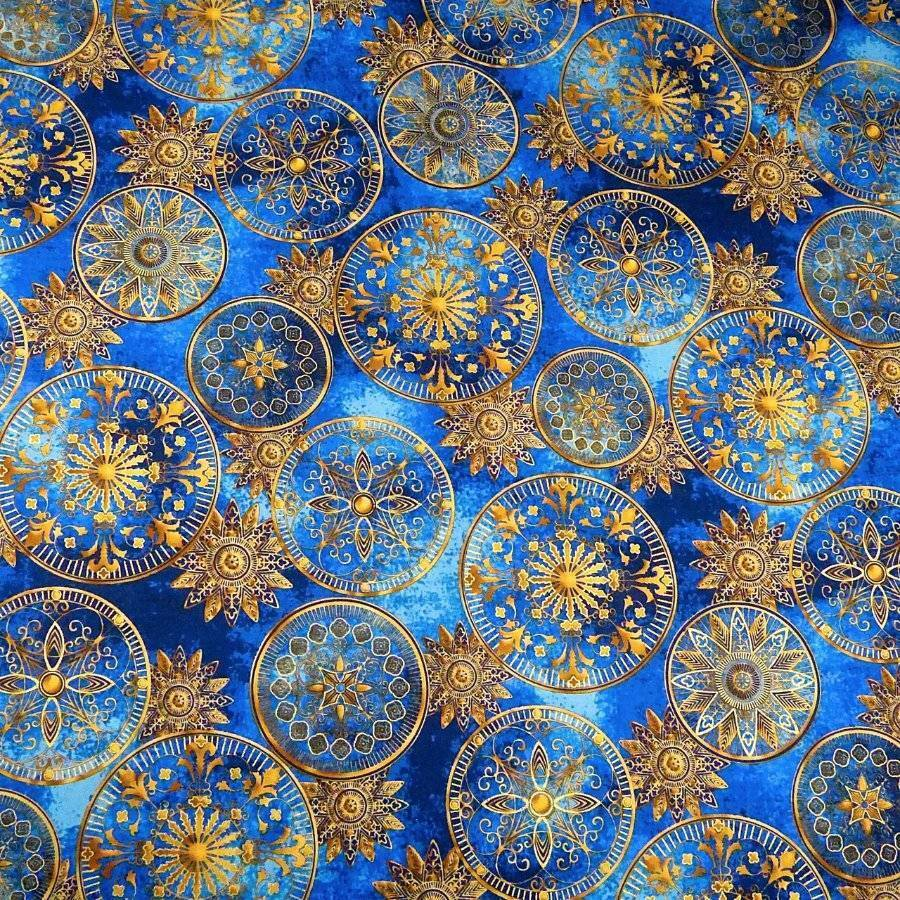 Celestial stars metallic gold on blue cotton by hoffman for Celestial fabric by the yard