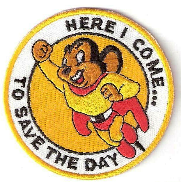 MIGHTY MOUSE ☆ 80's CARTOON Super Hero Iron On Patch Badge
