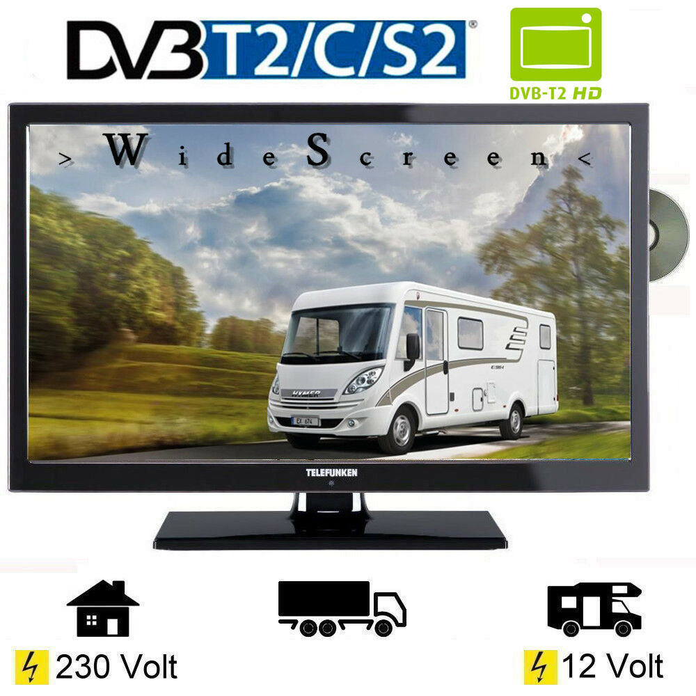 wohnmobil camping fernseher 22 zoll dvb s s2 t2 c dvd. Black Bedroom Furniture Sets. Home Design Ideas