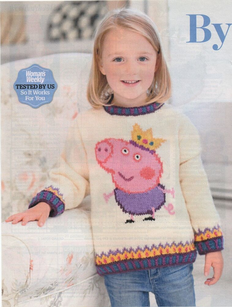 George Pig Knitting Pattern Jumper : Knitting pattern george pig sweater jumper Peppa Pigs brother eBay