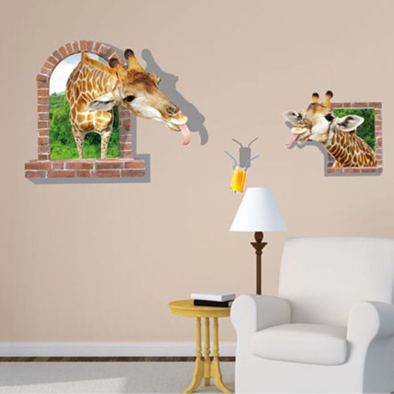 3d giraffe wall sticker removable mural decals vinyl art for Decor mural 3d