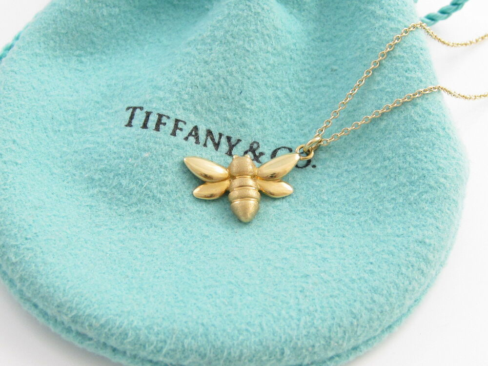 Tiffany co new mint rare 18k yellow gold bee pendant necklace ebay aloadofball Image collections