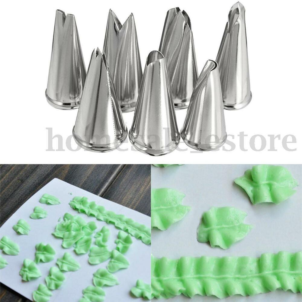 7pcs Russian Leaf Flower Icing Piping Nozzles Tips Cake