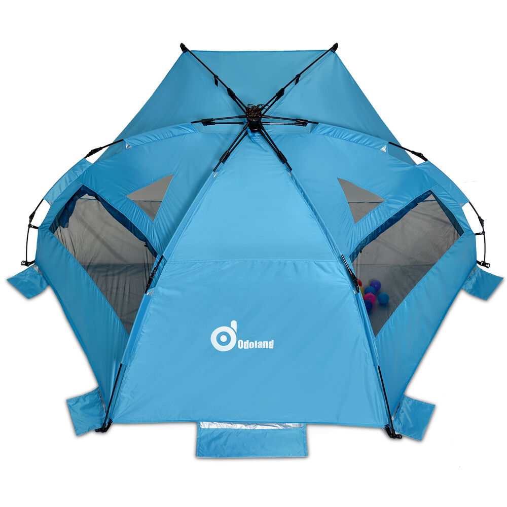 Pop Up Tent Shelters : Person pop up beach tent sun shelter steel stake