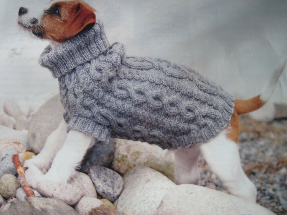 Knitting Coats For Dogs : Knitting pattern dog cable aran jumper coat xs s and m ebay