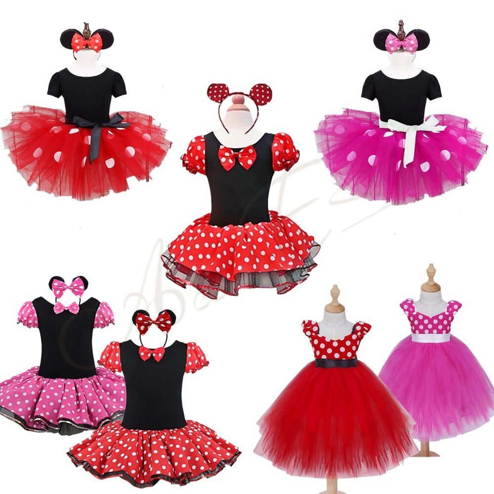Girls Kids Minnie Mouse Halloween Costume Outfits Party