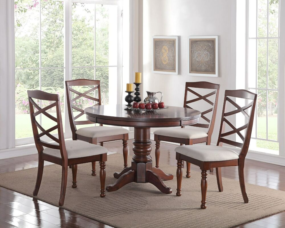 Eden 5pc round pedestal cherry finish wood kitchen dining for Cherry wood dining room set