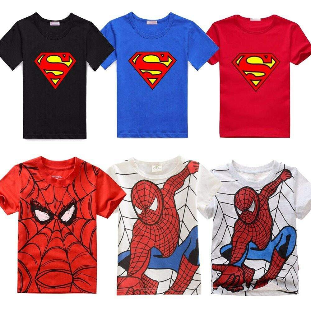 Kids Boys Superman Spiderman T-Shirt Summer Short Sleeve ...