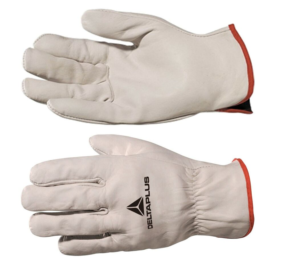 Leather work gloves ebay - Delta Plus Fbn49 Drivers Safety Gloves Work Leather Cowhide Full Grain