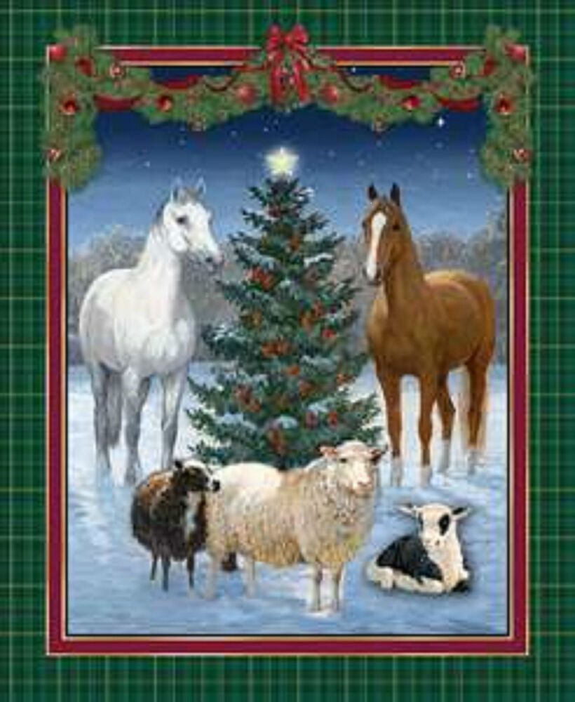 Christmas fabric THE GIFT WILD WINGS HORSES Fabric PANEL ...