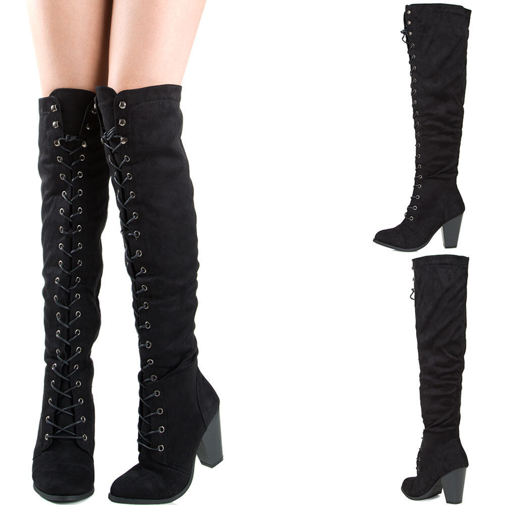black lace up chunky thick heel knee thigh high