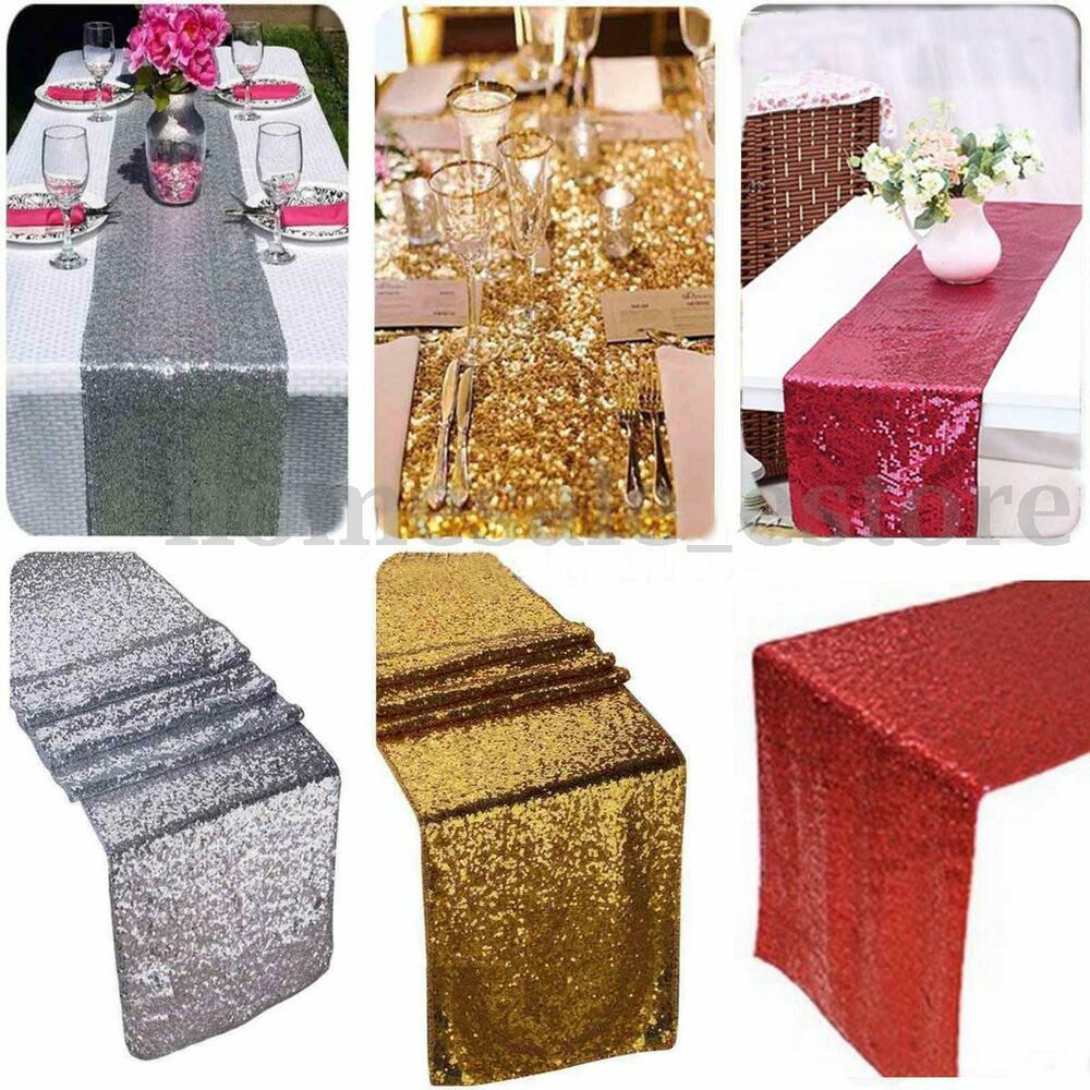 12 x108 gold sequin table runner wedding party for Fashion for home
