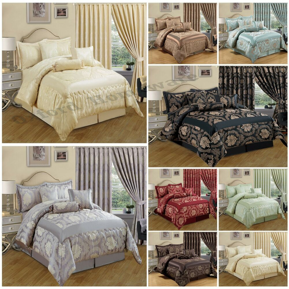new jacquard 7 piece bedspread bedding sets with matching pencil pleat curtains ebay. Black Bedroom Furniture Sets. Home Design Ideas