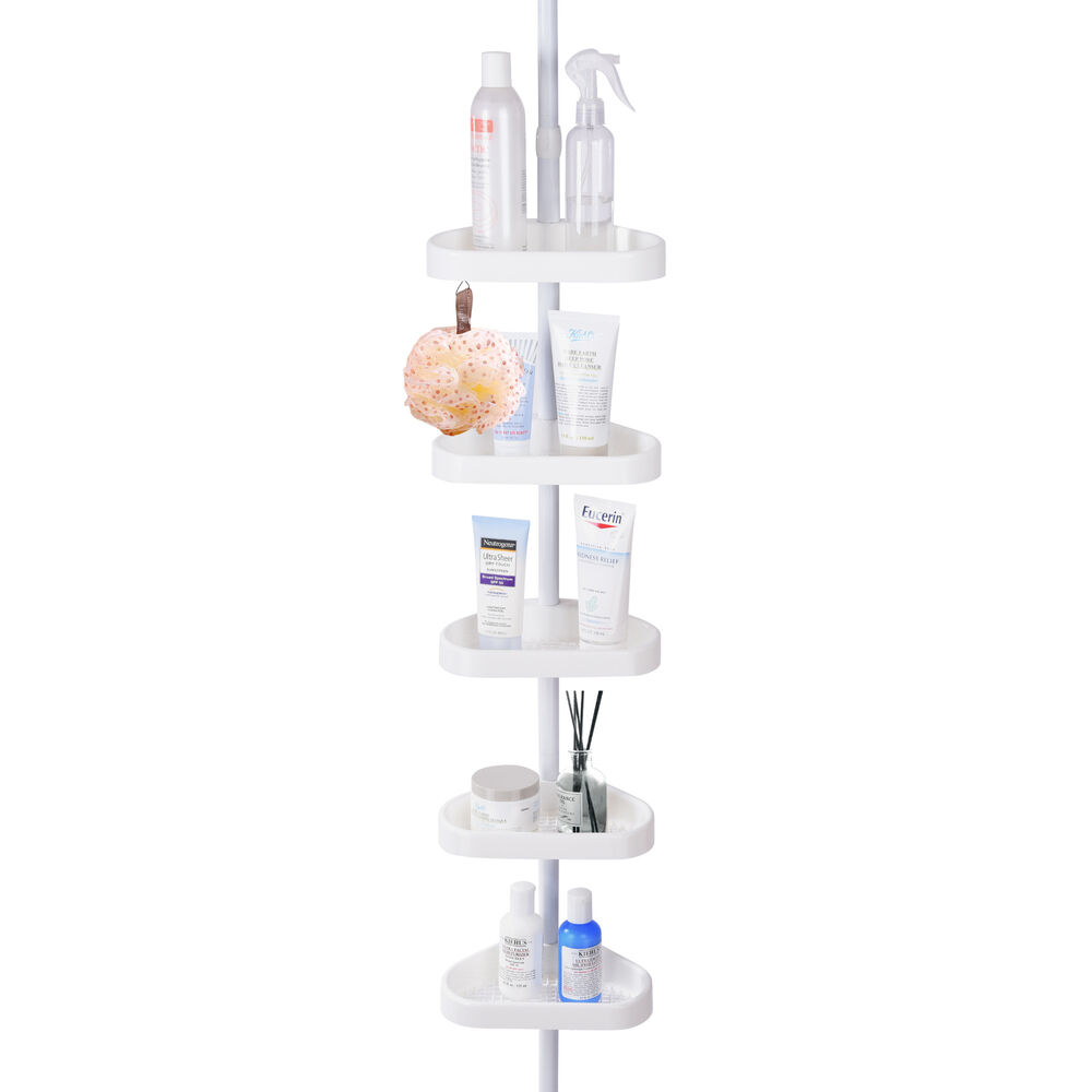 5 Shelf Shower Corner Tension Pole Caddy Organizer