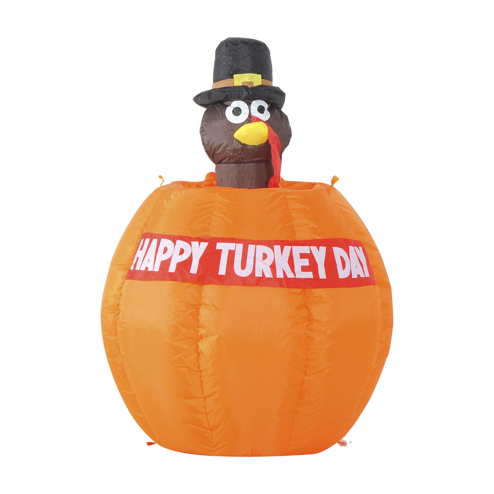 Homcom ft thanksgiving inflatable turkey on pumpkin