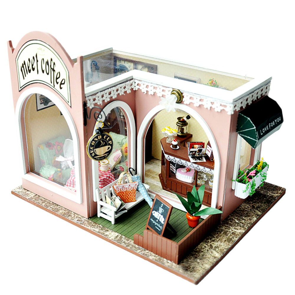 Where To Buy Cafe Kid Furniture: DIY Cafe Shop Wooden Miniature Dollhouse Hademade Doll