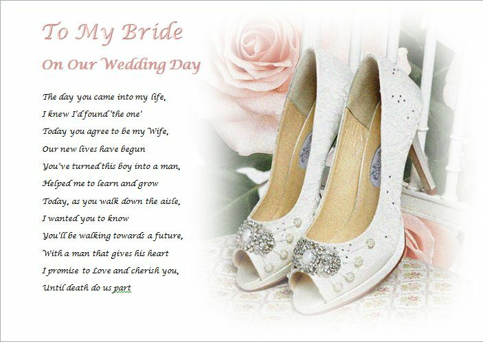 Wedding Day Groom Gift: TO MY BRIDE On Our Wedding Day (personalised Gift)