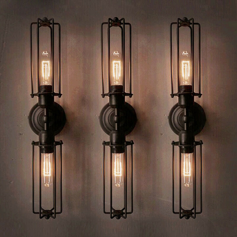 Industrial Retro 2 Light Double Head Mini Long Cage Shade