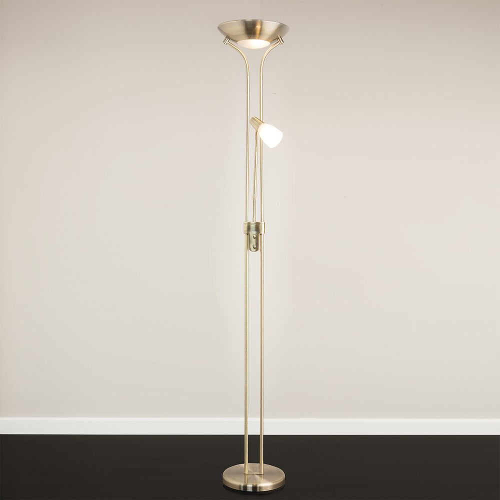 Mother And Child Floor Lamp Antique Brass Complete