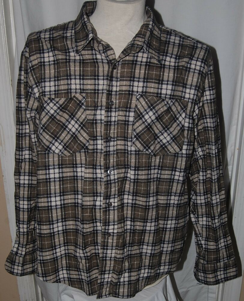 Vintage haband mens plaid flannel shirt xl olive green for White flannel shirt mens